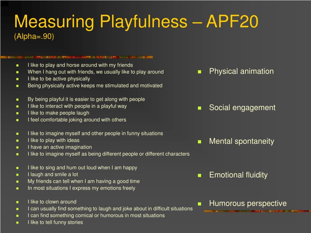 Measuring Playfulness – APF20