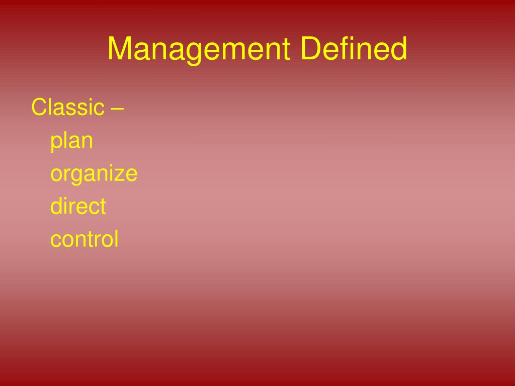 management defined l.
