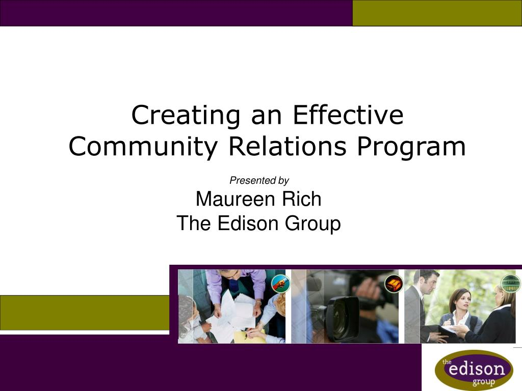 creating an effective community relations program l.