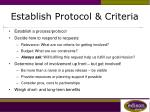 establish protocol criteria