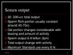 semen output