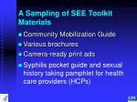 a sampling of see toolkit materials