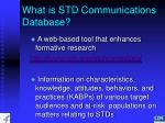 what is std communications database
