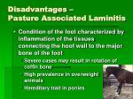 disadvantages pasture associated laminitis