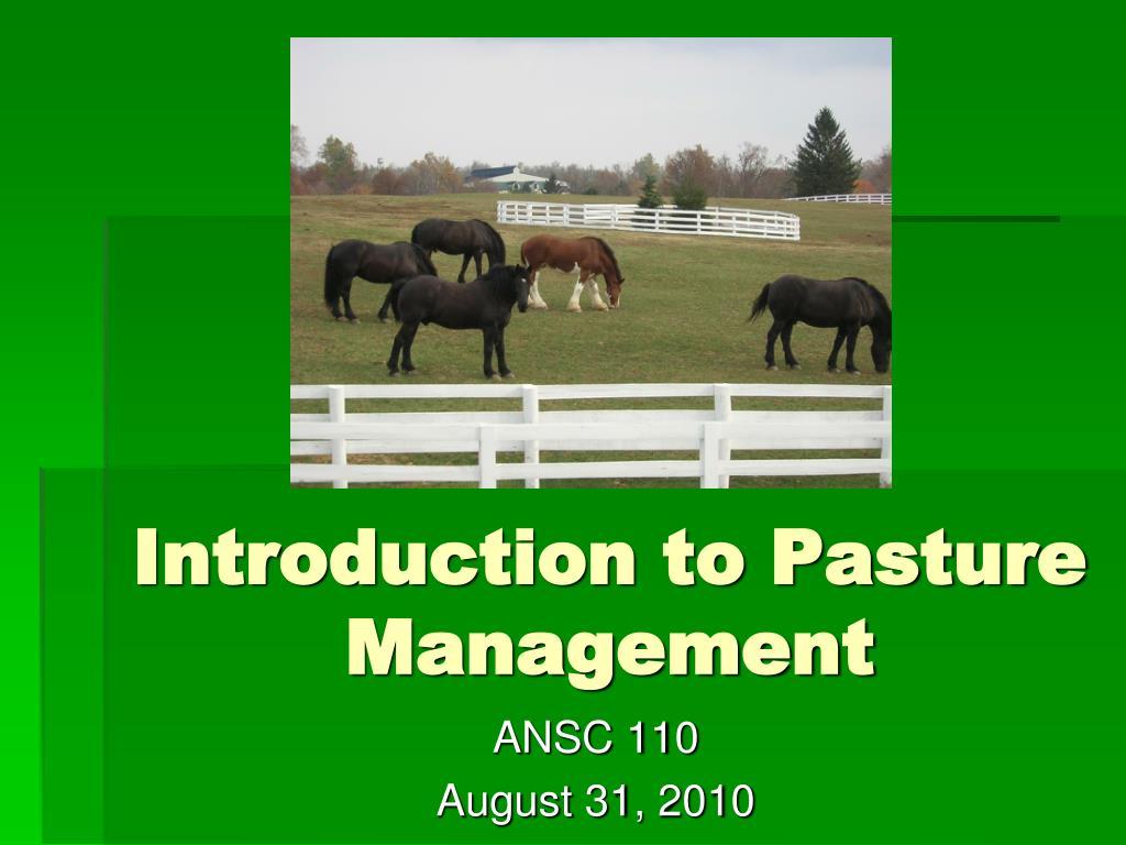 introduction to pasture management l.