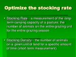 optimize the stocking rate