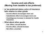 income and sub effects moving from taxable to tax preferred