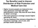 tax benefits lead to uneven distribution of risk protection and medical care use