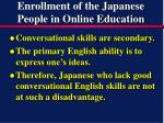 enrollment of the japanese people in online education