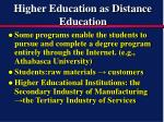 higher education as distance education