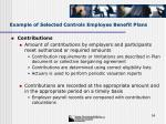 example of selected controls employee benefit plans