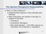 plan sponsor management responsibilities