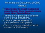 performance outcomes of cmc groups