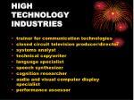 high technology industries