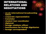 international relations and negotiations