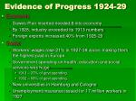 evidence of progress 1924 29