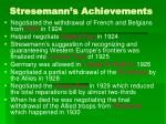 stresemann s achievements