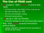 the use of fear cont