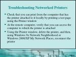 troubleshooting networked printers
