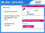 my site activities