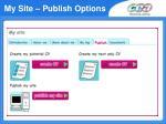 my site publish options