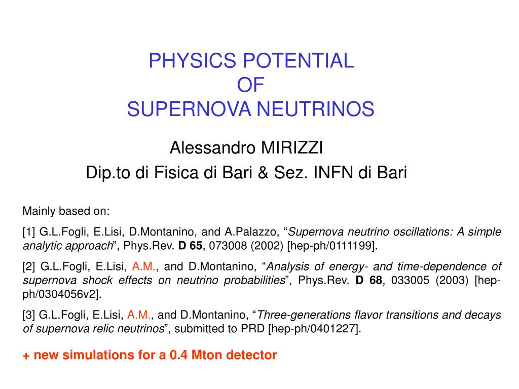 physics potential of supernova neutrinos l.