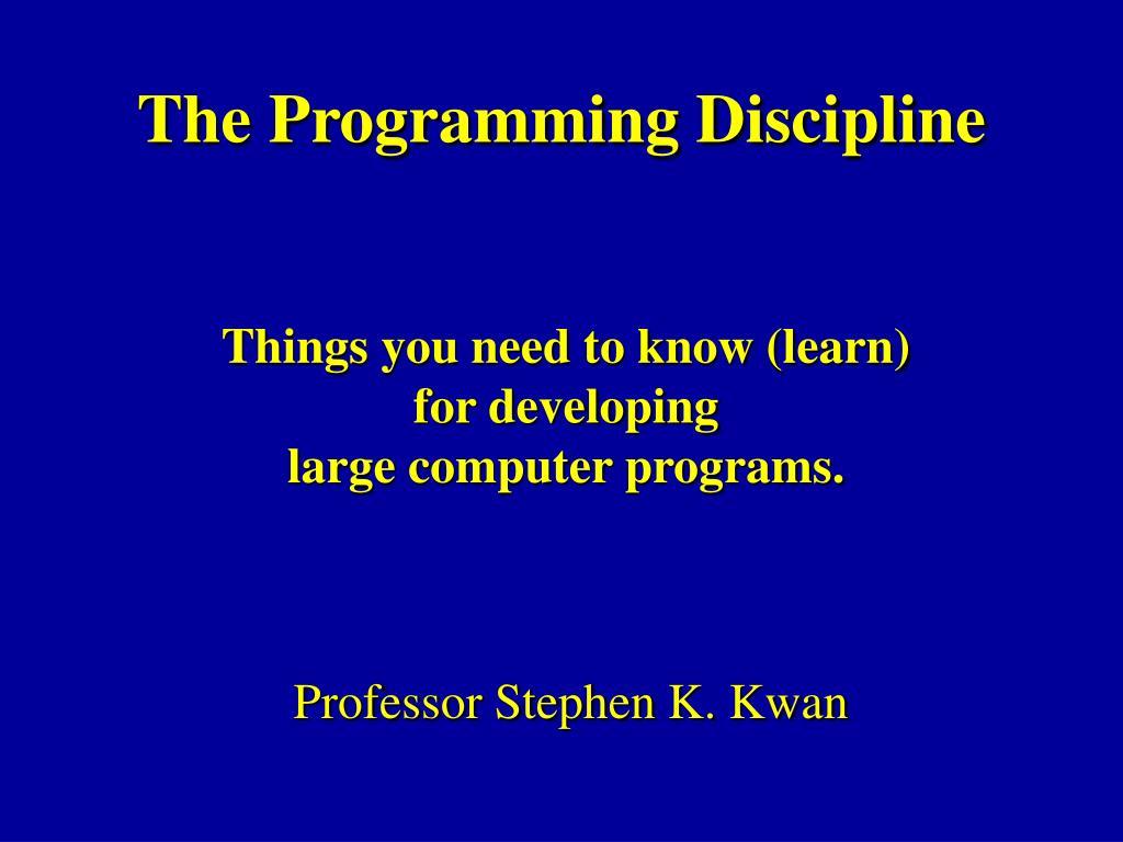 the programming discipline l.