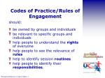 codes of practice rules of engagement
