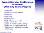 explanations for challenging behaviour made by young people
