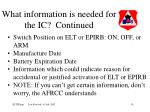 what information is needed for the ic continued