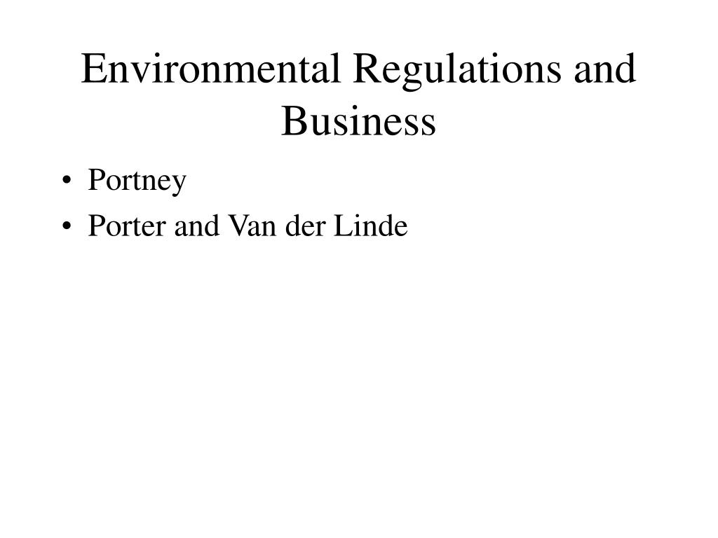 environmental regulations and business l.