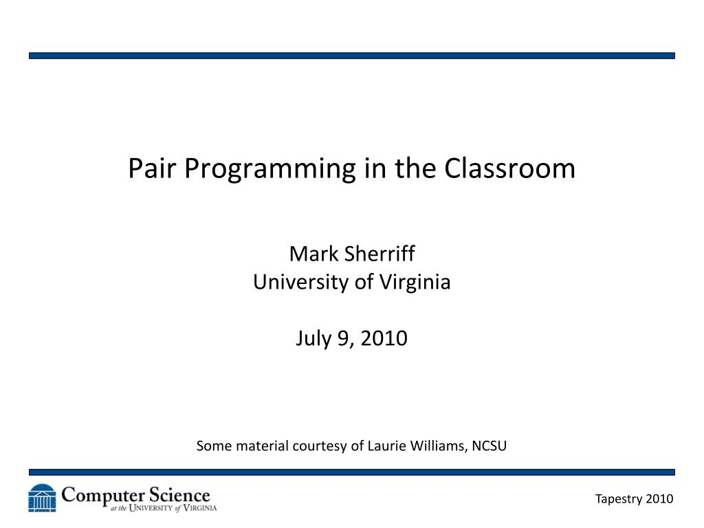 pair programming in the classroom l.