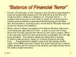 balance of financial terror