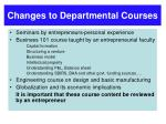 changes to departmental courses