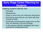 early stage career planning for students