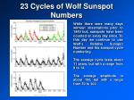 23 cycles of wolf sunspot numbers