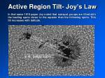 active region tilt joy s law