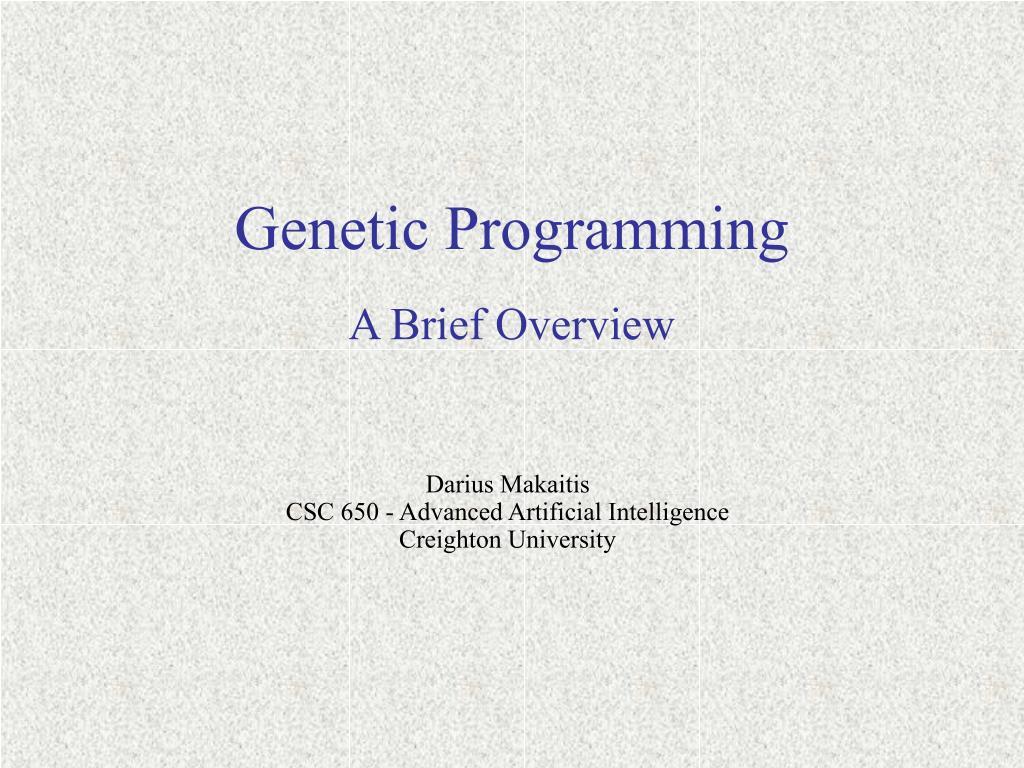 genetic programming l.
