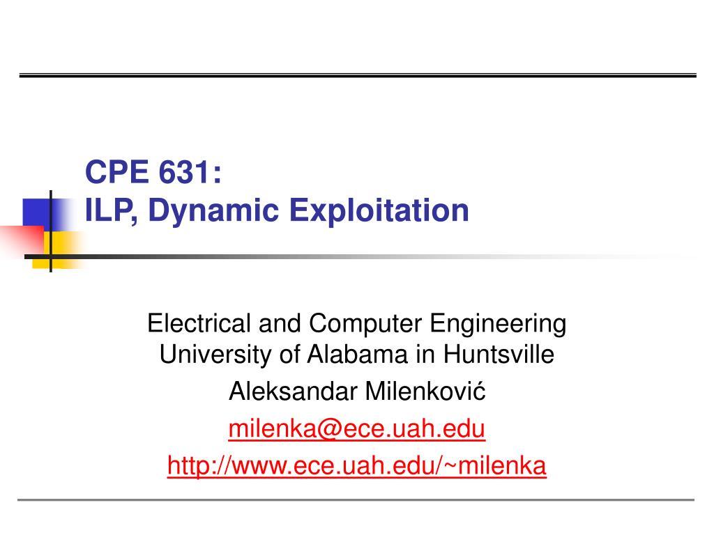 cpe 631 ilp dynamic exploitation l.