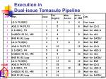 execution in dual issue tomasulo pipeline