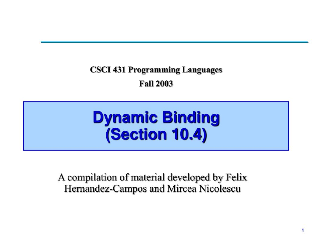 dynamic binding section 10 4 l.