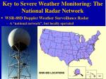 key to severe weather monitoring the national radar network