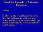 simplified example of a warning statement