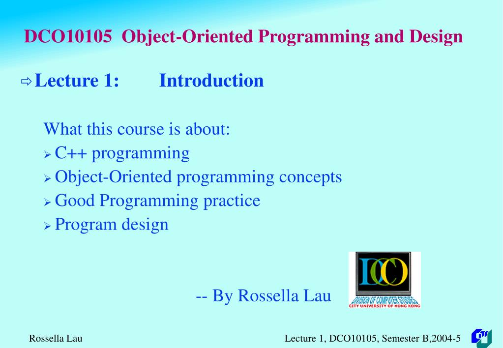 dco10105 object oriented programming and design l.