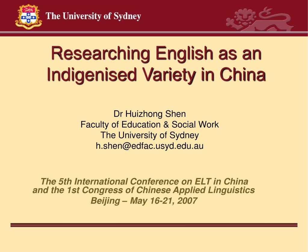 researching english as an indigenised variety in china l.