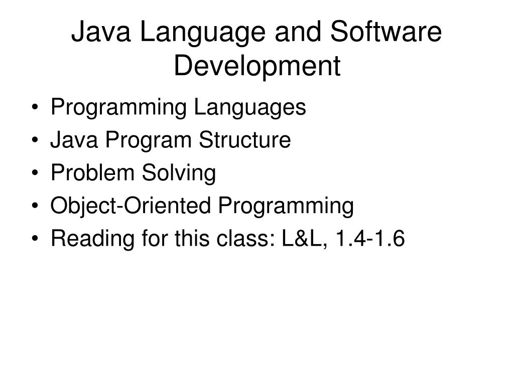 PPT - Java Language and Software Development PowerPoint