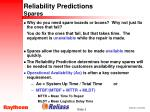 reliability predictions spares