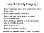 student friendly language27