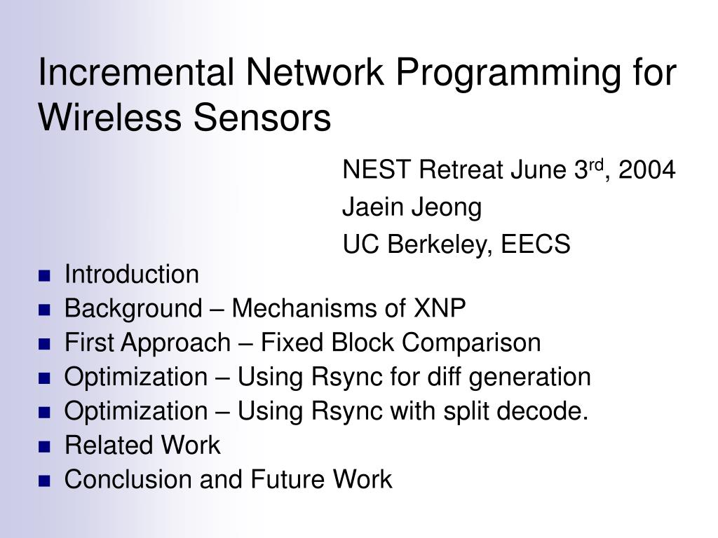 incremental network programming for wireless sensors l.