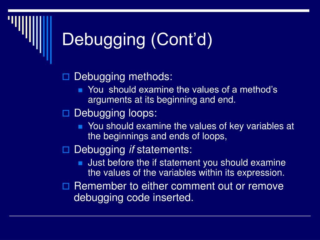 Debugging (Cont'd)